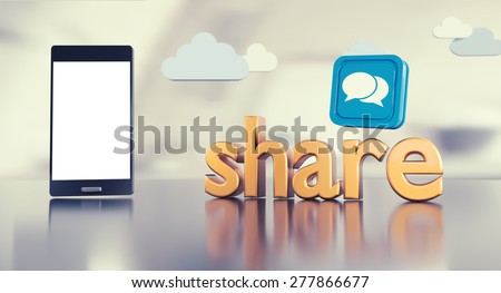 """Social media background with 3D """"share"""" text reflecting on glossy floor, smartphone with empty screen and chat icon. - stock photo"""