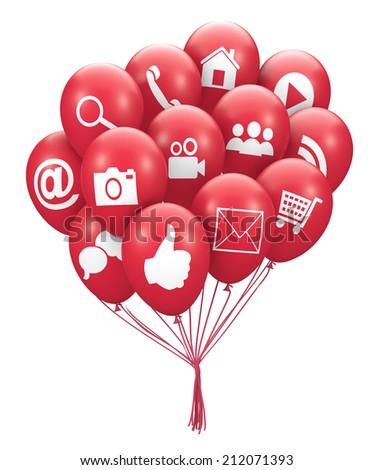 social media balloon 3d render facebook like twitter - stock photo