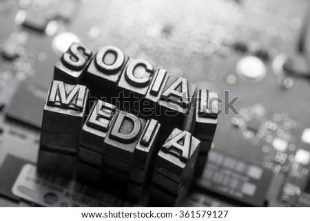 Social media & Blog icon by letterpress - stock photo