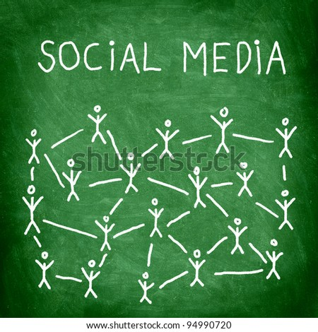 Social media business network connection and networking concept image of green square blackboard / chalkboard. - stock photo