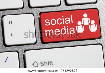 Social media button, computer keyboard message - stock photo