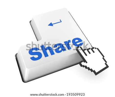 social media Button on Keyboard like facebook twitter share thumb up - stock photo