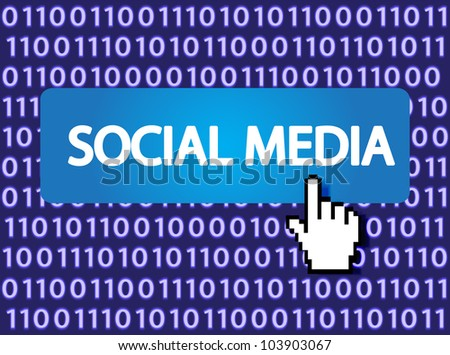 Social media Button with Hand Cursor. Vector version also available in my portfolio. - stock photo