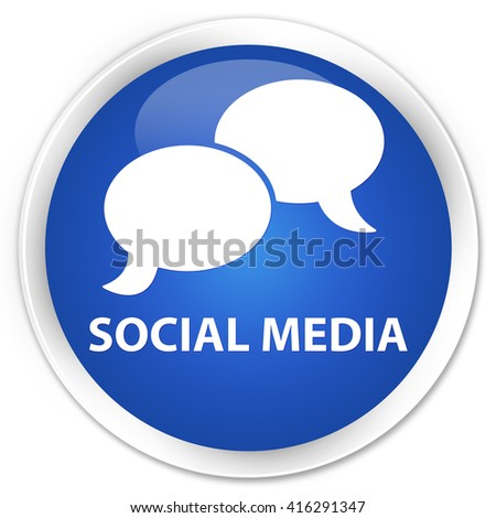 Social media (chat bubble icon) blue glossy round button - stock photo