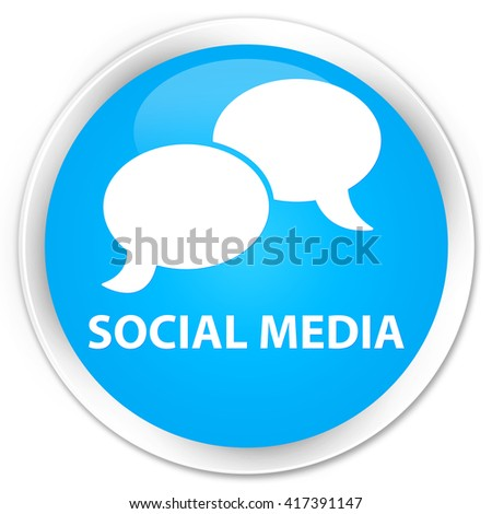 Social media (chat bubble icon) cyan blue glossy round button - stock photo