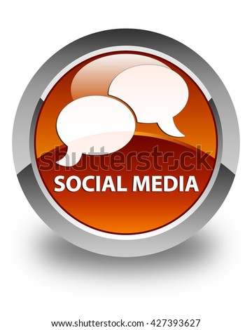 Social media (chat bubble icon) glossy brown round button - stock photo
