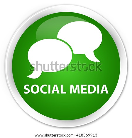 Social media (chat bubble icon) green glossy round button - stock photo