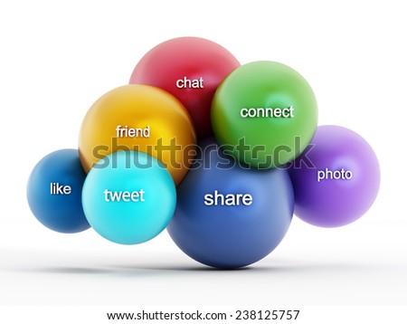 Social media cloud computing concept - stock photo
