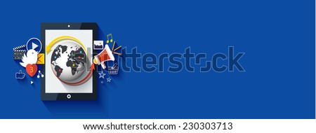 Social media. Cloud of application icons. Set for web and mobile applications of social media. Raster version - stock photo