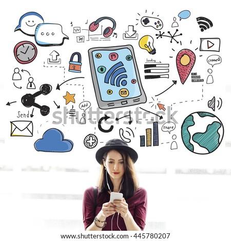 Social Media Communication Connection Concept - stock photo