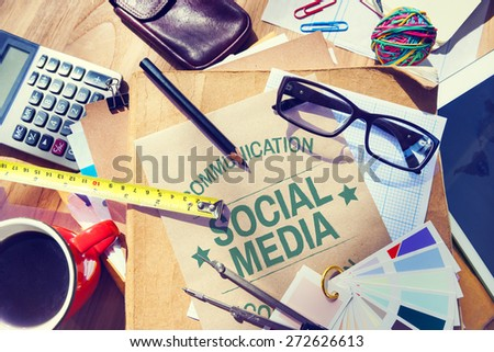 Social Media Communication Connection Networking Concept - stock photo