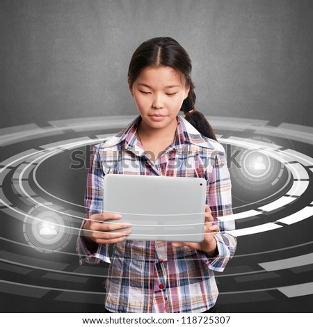 Social media concept, asian girl with laptop - stock photo