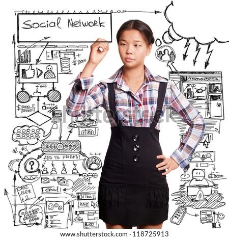 Social media concept, Asian girl writing something - stock photo