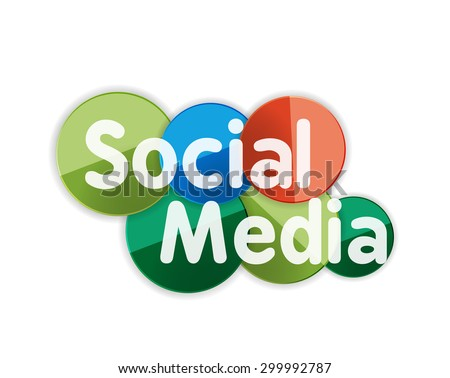 Social media concept banner, glossy circles with words, letters - stock photo