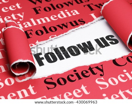 Social media concept: black text Follow us under the curled piece of Red torn paper with  Tag Cloud, 3D rendering - stock photo