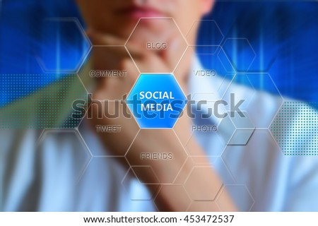 Social media, concept. Button with text social media and words video, photo, friends, tweet, comment, blog. Thinking man. Concept wallpaper for theme social media. Social media concepts diagram - stock photo