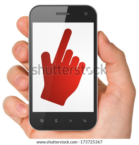 Social media concept: hand holding smartphone with Mouse Cursor on display. Mobile smart phone on White background, 3d render - stock photo