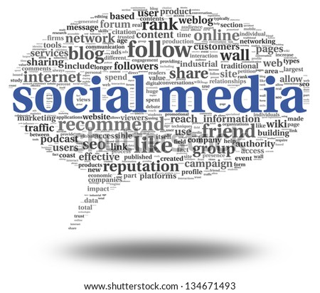 Social media concept in word tag cloud of think bubble - stock photo