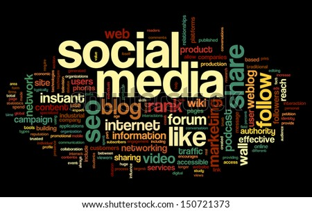 Social media concept in word tag cloud on black background - stock photo