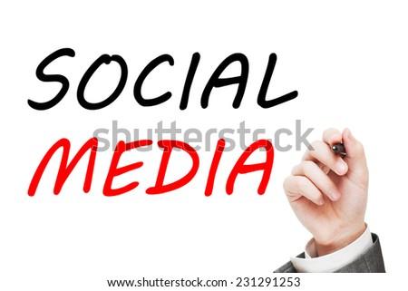 Social Media Concept isolated on white background - stock photo