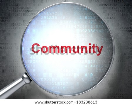 Social media concept: magnifying optical glass with words Community on digital background, 3d render - stock photo