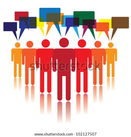 Social media concept of people talking and listening to each other - stock photo