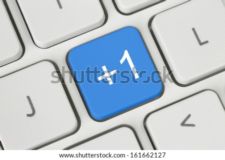 Social media concept on white keyboard  - stock photo