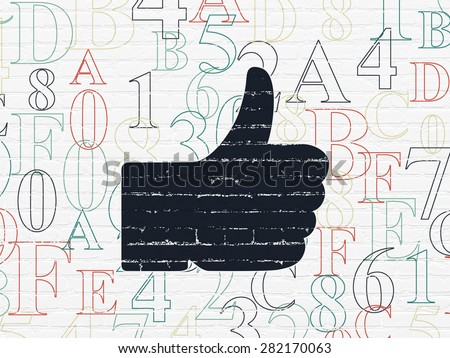 Social media concept: Painted black Thumb Up icon on White Brick wall background with  Hexadecimal Code, 3d render - stock photo