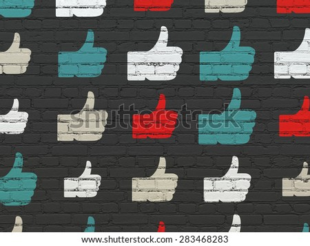 Social media concept: Painted multicolor Thumb Up icons on Black Brick wall background, 3d render - stock photo