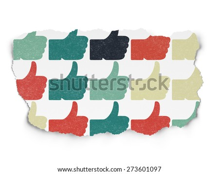Social media concept: Painted multicolor Thumb Up icons on Torn Paper background, 3d render - stock photo