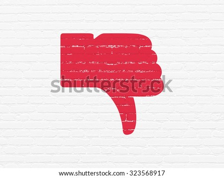 Social media concept: Painted red Thumb Down icon on White Brick wall background - stock photo