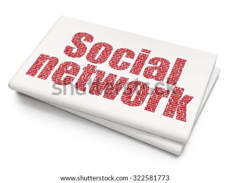 Social media concept: Pixelated red text Social Network on Blank Newspaper background - stock photo