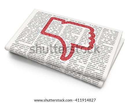 Social media concept: Pixelated red Thumb Down icon on Newspaper background, 3D rendering - stock photo