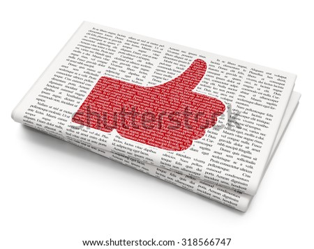 Social media concept: Pixelated red Thumb Up icon on Newspaper background - stock photo