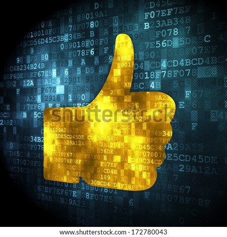 Social media concept: pixelated Thumb Up icon on digital background, 3d render - stock photo