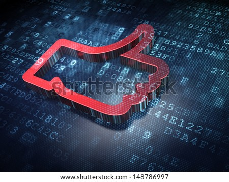 Social media concept: Red Like on digital background, 3d render - stock photo