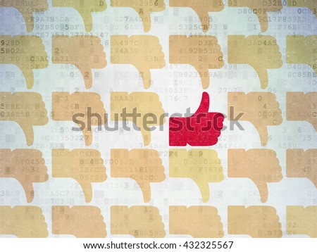 Social media concept: rows of Painted yellow thumb down icons around red thumb up icon on Digital Data Paper background - stock photo