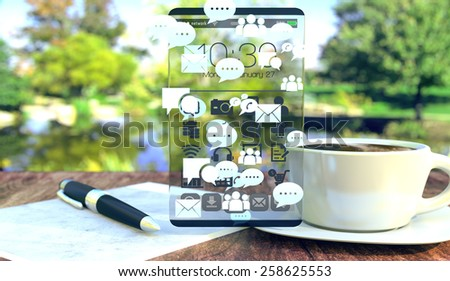 Social media concept scene in bright summer or spring day. Chat icons flowing on transparent screen device.  - stock photo