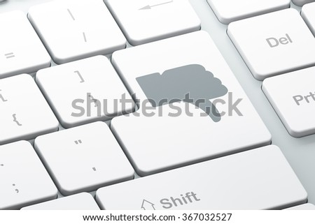 Social media concept: Thumb Down on computer keyboard background - stock photo