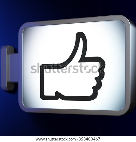 Social media concept: Thumb Up on advertising billboard background, 3d render - stock photo