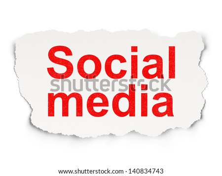 Social media concept: torn paper with words Social Media on Paper background, 3d render - stock photo