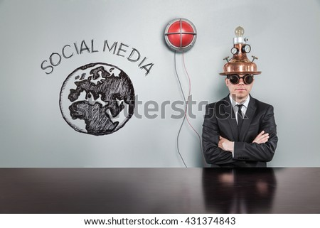Social media concept with alert light and vintage businessman - stock photo