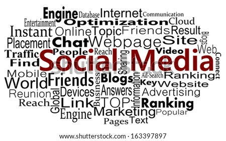 Social media concept with word collage - stock photo