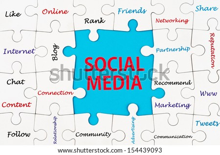 Social media concept words on group of jigsaw puzzle pieces - stock photo