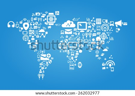 Social media concept - world map with social media icon - stock photo