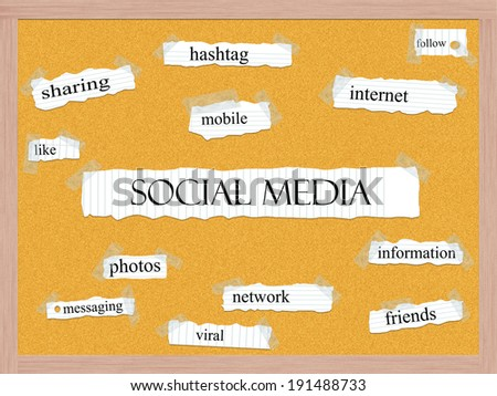 Social Media Corkboard Word Concept with great terms such as sharing, hashtag, mobile and more. - stock photo