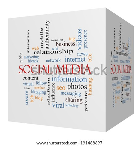 Social Media 3D cube Word Cloud Concept with great terms such as network, follow, content and more. - stock photo