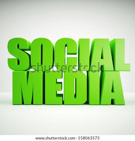 Social Media, 3d, green - stock photo