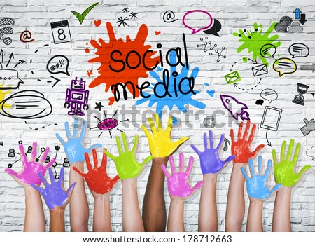 Social Media Graphic with Colorful Hands - stock photo
