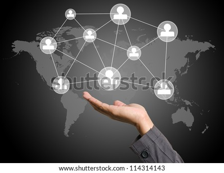 social media icon on the hand - stock photo